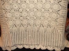 "GENUINE VINTAGE CREAM LACY HAND CROCHET COTTON TABLE CLOTH SCALLOP 36"" SQUARE"